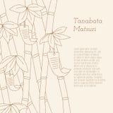 Дерево фестиваля Tanabata handdrawn бамбуковое при желания написанные на Tanzaku Стоковое Изображение RF