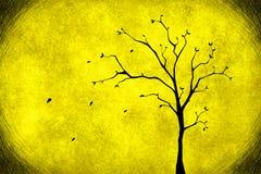 Дерево чертежа на желтом цвете Стоковая Фотография
