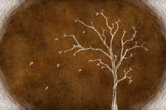 Дерево чертежа на коричневом цвете Стоковое Изображение