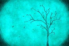Дерево чертежа на сини Стоковые Изображения RF