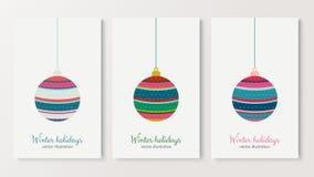 Дерево шарика зимних отдыхов красочное с звездами иллюстрация штока