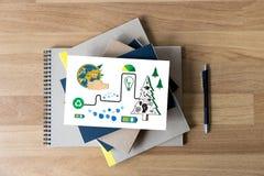Дерево экологичности глобуса земли дня мировой окружающей среды и зеленые лист w Стоковая Фотография