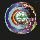 Дерево эмблемы или логотипа в круге Стоковое Изображение RF