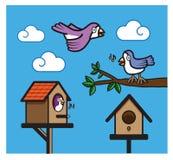 Дерево birdhouse птицы изолированное небом Стоковая Фотография RF