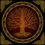 Дерево Druidic Yggdrasil, круглый темный готический логотип старый стиль книги бесплатная иллюстрация
