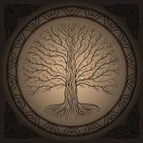 Дерево Druidic Yggdrasil, круг, коричневый логотип Готический старый стиль книги иллюстрация вектора