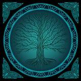 Дерево Druidic Yggdrasil на ноче, круглом логотипе силуэта, черных и голубых Готический старый стиль книги Стоковое Фото