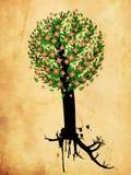 Дерево Grunge с розовым цветением иллюстрация вектора