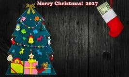 Дерево hristmas ¡ Ð сеть универсалии шаблона страницы приветствию рождества карточки предпосылки Стоковая Фотография RF