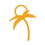 Дерево Palm Beach с солнцем Стоковые Изображения