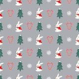 Дерево Xmas, снежинки, кролик, картина сердца тросточек конфеты безшовная на серой предпосылке иллюстрация вектора
