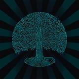 дерево yggdrasil стиля цепи Высок-техника круглое Дизайн киберпанка футуристический Стоковая Фотография RF