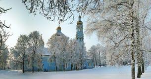 Деревья березы на снежном дворе православной церков церков Стоковое Фото