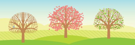 Деревья весны с листьями и цветениями. Вектор Стоковые Фото