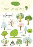 Деревья вручают вычерченному романтичному значку установленный вектор Стоковая Фотография