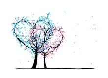 Деревья влюбленности для вашего дизайна Стоковое Изображение RF