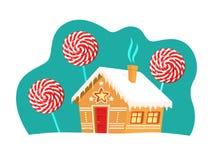 Деревья дома и леденца на палочке пряника вокруг его Рождество, Новый Год, карточка зимних отдыхов бесплатная иллюстрация
