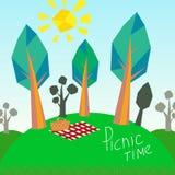 Деревья и корзина пикника бесплатная иллюстрация
