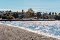 Деревья и дома на пляже Kitsilano в Ванкувере, Канаде Стоковые Фотографии RF