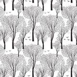 Деревья и птицы картина природы безшовная солнечний свет дуба пущи конструкции граници предпосылки осени жолудей иллюстрация вектора
