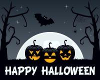 Деревья и тыквы хеллоуина пугающие Стоковые Изображения