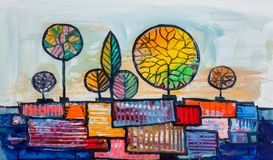 Деревья, картина маслом, художническая предпосылка иллюстрация штока