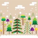 Деревья настроения рождества леса зимы в снеге иллюстрация штока