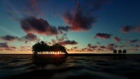 Деревья над океаном на заходе солнца, облака гитары Timelapse, летать музыкальных примечаний иллюстрация штока