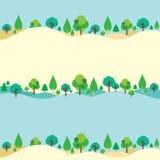 Деревья на предпосылке холмов естественной иллюстрация штока