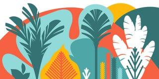 Деревья обширн-leaved тропические, папоротники Плоский стиль Консервация окружающей среды, леса парк, внешний иллюстрация вектора