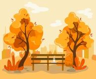 Деревья осени в парке с стендом и горячем кофе на предпосылке города позади в плоском стиле иллюстрация штока
