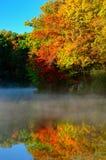Деревья осени отраженные на тумане покрыли озеро Стоковая Фотография RF