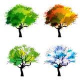 Деревья 4 сезонов/вектора иллюстрация вектора