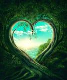 Деревья формируя сердце иллюстрация штока