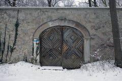 Деревянная дверь в стене стоковая фотография rf