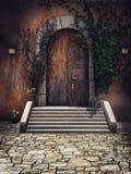 Деревянная дверь замка Стоковые Изображения