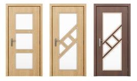 Деревянная дверь изолированная на белизне Стоковое Фото