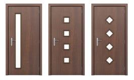 Деревянная дверь изолированная на белизне Стоковое Изображение RF