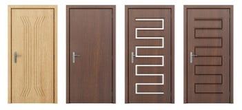 Деревянная дверь изолированная на белизне Стоковая Фотография