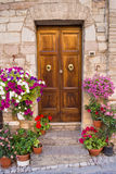 Деревянная дверь с цветками стоковое изображение