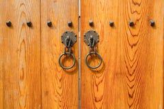 Деревянная дверь, традиционный корейский стиль Стоковое Изображение RF