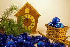 Деревянная выставка часов время Стоковые Изображения