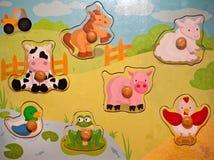 Деревянная головоломка игрушки животных младенца Стоковая Фотография RF