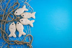 Деревянная голубая предпосылка в морском стиле Стоковые Изображения RF