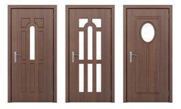 Деревянная дверь изолированная на белизне Стоковые Фотографии RF