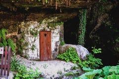Деревянная дверь с сердцем стоковые фотографии rf
