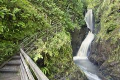 Деревянная дорожка наряду с waterfal стоковые фото