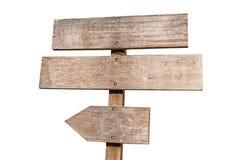 Деревянная доска знака изолированная на белой предпосылке Старая деревянная изолированная доска знака Изолированный шильдик стрел Стоковая Фотография