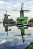 Деревянная деревня Голландия Нидерланды Zaanse Schans ветрянок Стоковые Изображения RF