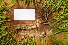 Деревянная естественная предпосылка и бумажная доска для текста Стоковое Фото